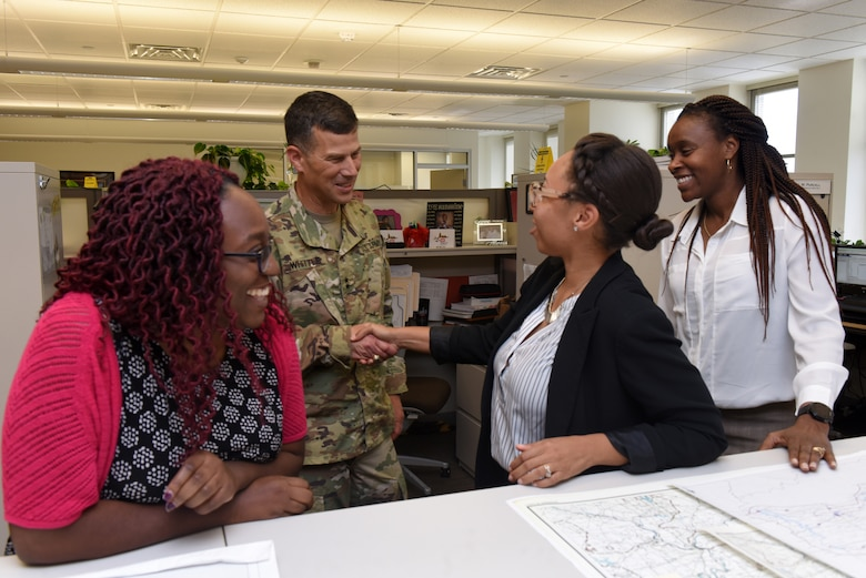 Maj. Gen. Robert F. Whittle, U.S. Army Corps of Engineers Great Lakes and Ohio River Division commanding general, meets with contracting employees at the Nashville District Headquarters in Nashville, Tenn., Oct. 1, 2019. (USACE photo by Lee Roberts)