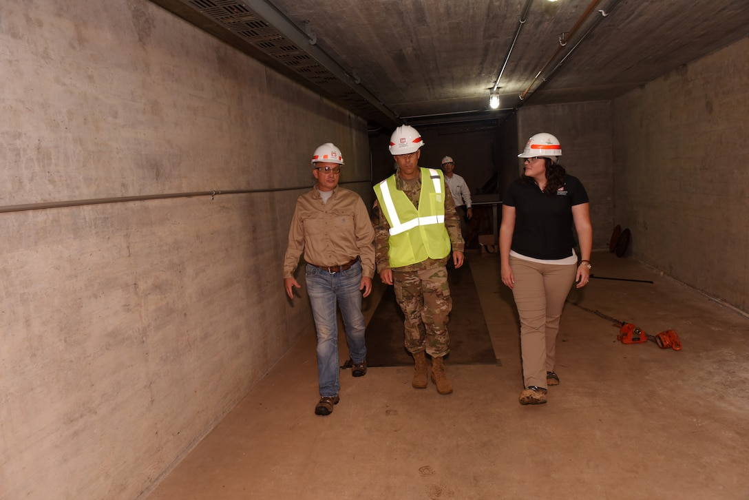 Jody Craig, Power Plant superintendent, and Loren McDonald, Hydropower Rehabilitation Program manager, lead Maj. Gen. Robert F. Whittle, U.S. Army Corps of Engineers Great Lakes and Ohio River Division commanding general, on a tour of the Center Hill Dam Power Plant in Lancaster, Tenn., Oct. 2, 2019. The project is operated and maintained by the Nashville District. (USACE photo by Lee Roberts)