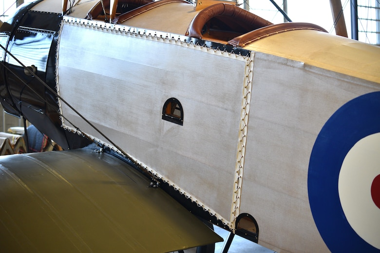 View of biplane fuselage during restoration.