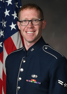 Official photo of A1C Levi Larson, Pianist and Keyboardist with Flight One.