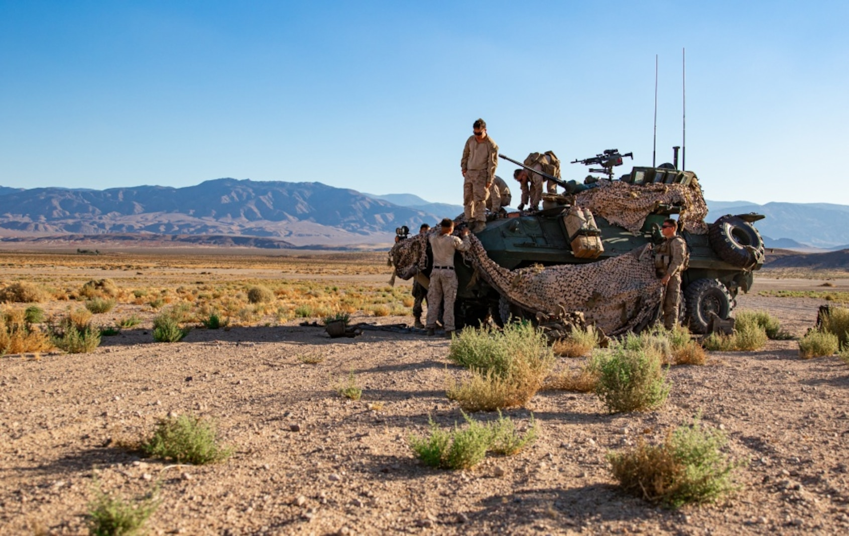 U.S. Marines with 3rd Light Armored Reconnaissance Battalion, 1st Marine Division, camouflage a Light Armored Vehicle during a Marine Corps Combat Readiness Evaluation (MCCRE) at Marine Corps Air Ground Combat Center Twentynine Palms, California, Sept. 6, 2019. The MCCRE is used to formally evaluate Marines on their combat readiness prior to their upcoming deployment. (U.S. Marine Corps photo by Lance Cpl. Roxanna Ortiz)