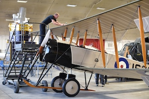 View of biplane during restoration.