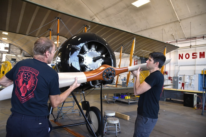 Aircraft view of propeller of a biplane in restoration.