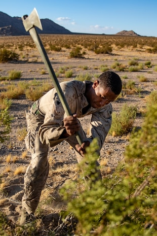U.S. Marine Corps Sgt. Kashan Hobson, a vehicle commander with 3rd Light Armored Reconnaissance Battalion, 1st Marine Division, swings an axe at the surrounding foliage during a Marine Corps Combat Readiness Evaluation (MCCRE) at Marine Corps Air Ground Combat Center Twentynine Palms, California, Sept. 6, 2019. The MCCRE is used to formally evaluate Marines on their combat readiness prior to their upcoming deployment. (U.S. Marine Corps photo by Lance Cpl. Roxanna Ortiz)
