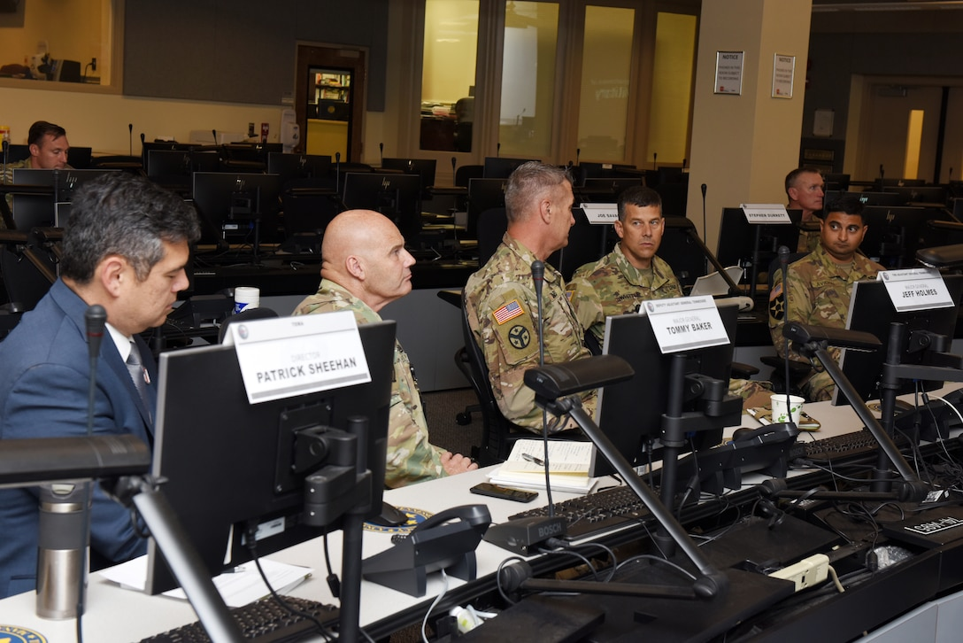 Maj. Gen. Robert F. Whittle Jr., (Second from right), U.S. Army Corps of Engineers Great Lakes and Ohio River Division commanding general, meets with partners at the Tennessee Emergency Management Agency in Nashville, Tenn., Oct. 2, 2019. TEMA Director Patrick Sheehan (Left), Maj. Gen. Tommy Baker (Second from Left), Tennessee deputy Adjutant General, Maj. Gen. Jeff Holmes (Third from Left), Tennessee Adjutant General, and Lt. Col. Sonny B. Avichal (Far Right), Nashville District commander, interacted with Whittle as he received info about the Tennessee National Guard and emergency operations in the state. (USACE photo by Lee Roberts)