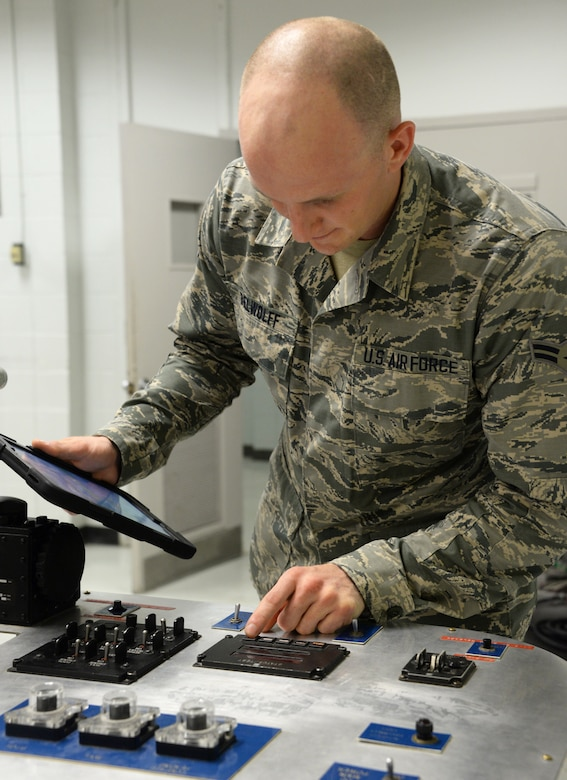 Airman 1st Class Mitchell Belwoff, 365th Training Squadron instrument and flight controls apprentice course student, works on an autopilot trainer at Sheppard Air Force Base, Texas, Oct. 2, 2019.