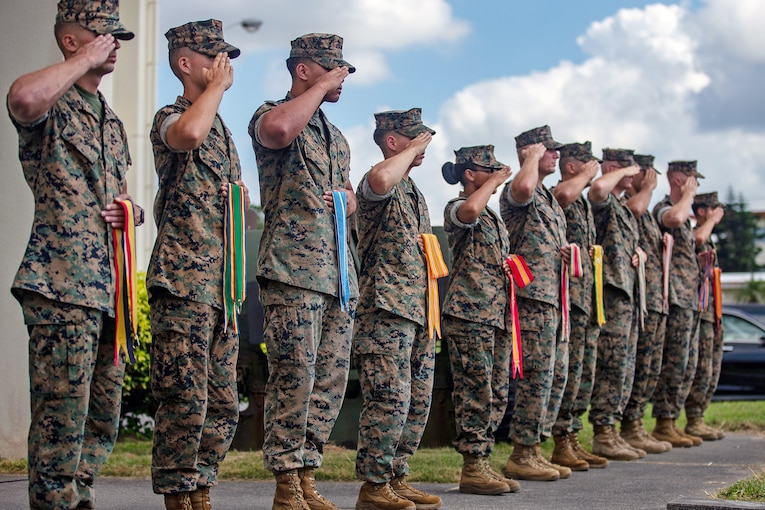 Marines standing a row saluting and holding different colored streamers.