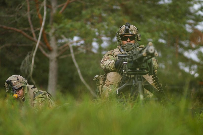 Two soldiers in camouflage uniforms crouch in tall grass and aim weapons.