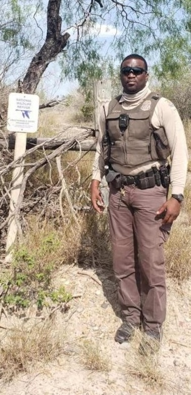 Terrance Butler, United States Fish & Wildlife Service federal Wildlife officer, poses for a photo in the field. Butler is the first USFWS officer assigned to Joint Base MDL where he will support the mission of the base in conjunction with assisting the conservation program that includes hunting, fishing and environmental issues.