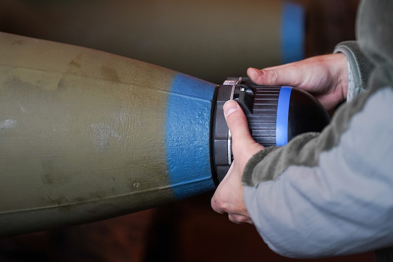 An Airman assigned to the 3rd Munitions Squadron helps build a GBU-32 (Guided Bomb Unit) on Joint Base Elmendorf-Richardson, Alaska, Oct. 2, 2019, while participating in the Polar Force 20-1 exercise. Polar Force 20-1 is designed to exercise multiple elements of the Agile Combat Employment (ACE) concept of operations, which include generating 5th Generation combat power from austere locations, command and control using non-traditional methods, and rapid airlift capabilities to sustain a forward operating location.  The ACE concept enables 3rd Wing to deliver lethal Airpower for America, even in a contested environment.