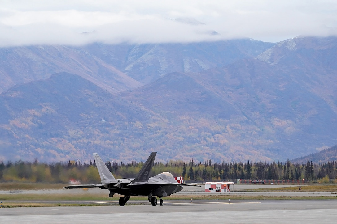 An F-22 Raptor of the 3rd Wing taxis on Joint Base Elmendorf-Richardson, Alaska, Oct. 2, 2019, while participating in the Polar Force 20-1 exercise. Polar Force 20-1 is designed to exercise multiple elements of the Agile Combat Employment (ACE) concept of operations, which include generating 5th Generation combat power from austere locations, command and control using non-traditional methods, and rapid airlift capabilities to sustain a forward operating location.  The ACE concept enables 3rd Wing to deliver lethal Airpower for America, even in a contested environment.