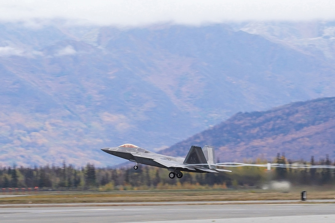 An F-22 Raptor of the 3rd Wing takes off from Joint Base Elmendorf-Richardson, Alaska, Oct. 2, 2019, while participating in the Polar Force 20-1 exercise. Polar Force 20-1 is designed to exercise multiple elements of the Agile Combat Employment (ACE) concept of operations, which include generating 5th Generation combat power from austere locations, command and control using non-traditional methods, and rapid airlift capabilities to sustain a forward operating location.  The ACE concept enables 3rd Wing to deliver lethal Airpower for America, even in a contested environment.