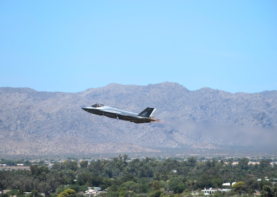 An F-35A Lightning II, assigned to the 61st Fighter Squadron, takes off Aug. 21, 2019, from Luke Air Force Base, Ariz.