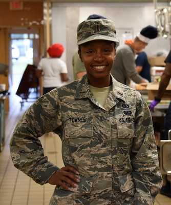 U.S. Air Force 1st Lt. Damina Townes, the sustainment service officer in charge assigned to the the 106th Rescue Wing, New York Air National Guard, pose for a photo at Francis S. Gabreski Air National Guard Base, Westhampton Beach, New York, Sept. 7, 2019. Townes spent 16 years enlisted and in ROTC, before she commissioned in August 2017. (U.S. Air National Guard photo by Airman 1st Class Kevin J. Donaldson)