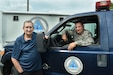 John Hertler, chemical biological radiological and nuclear program specialist for Horsham Air Guard Station and Senior Master Sgt. James Weller, Horsham AGS emergency manager, take a break from moving their emergency response vehicle to pose for a photo during Emergency Preparedness Month here Sept. 12, 2019. National Preparedness Month promotes family and community disaster and emergency planning.  (U.S. Air National Guard Photo by Senior Airman Wil Acosta)