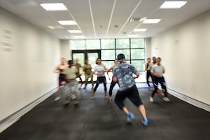 Members of the North Carolina Air National Guard participate in a National Hispanic Month inspired bootcamp Zumba class instructed by Will Fields, cousin of U.S. Air Force 1st. Sgt. Jorge Bedoya, 145th Medical Group, Oct. 5th, 2019. More than twenty people came out to the class as a means to appreciate another culture, and to enjoy the Hispanic music and exercise.