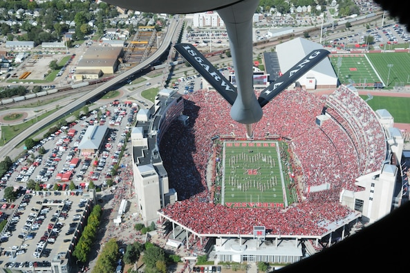 The boom of a KC-135 Stratotanker with the Iowa National Guard's 185th Air Refueling Wing is lowered as the aircraft flies over Memorial Stadium in Lincoln, Neb. before the kickoff of the Nebraska verses Northwestern game of Oct. 5.