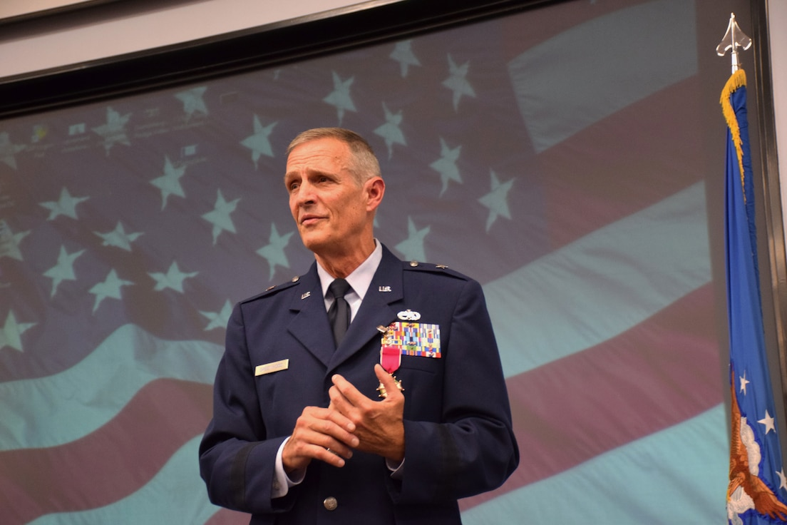 Brig. Gen. Randy Greenwood, Chief of Staff, Iowa Air National Guard, speaks at his retirement ceremony held in the Enhanced Classroom of Joint Force Headquarters in Johnston, Iowa on Saturday, October 5, 2019.  Greenwood is retiring after thirty-six years of service.  (U.S. Air National Guard photo by Tech. Sgt. Linda K. Burger/Released)