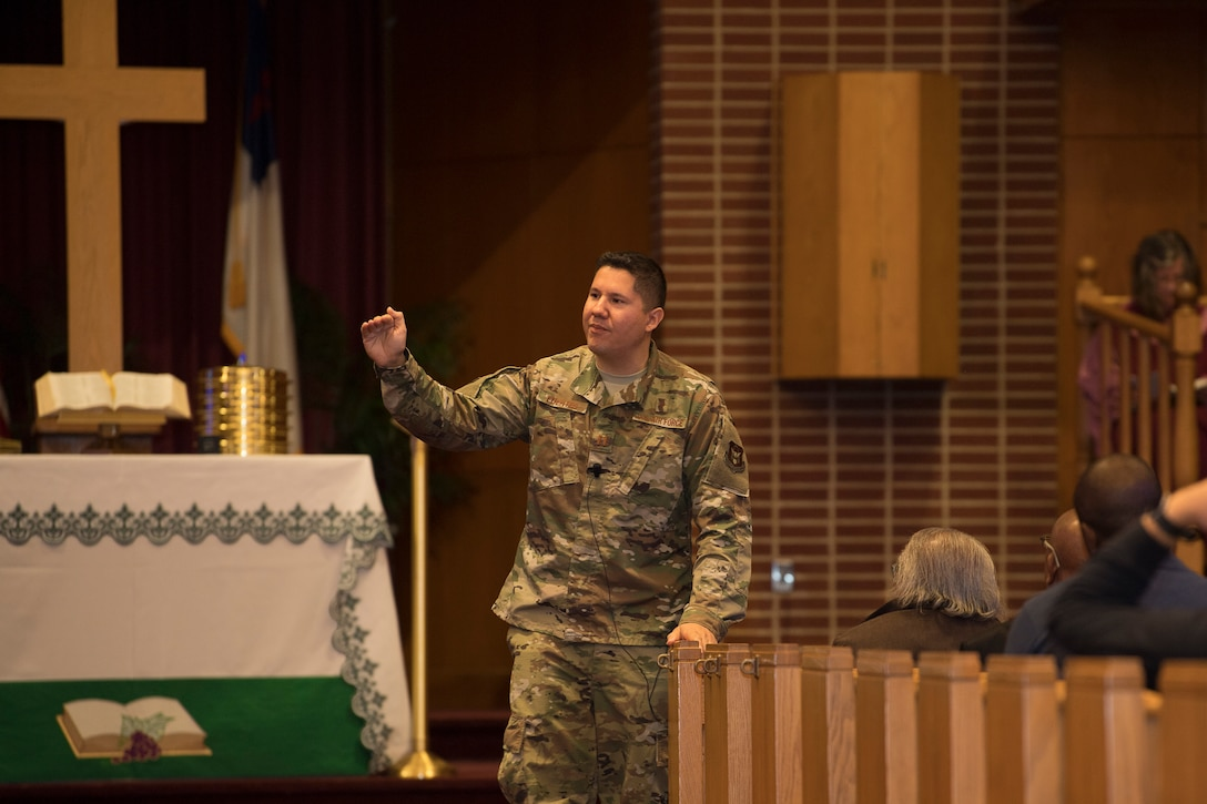 Capt. Michael G. Fuentes, 514th Air Mobility Wing chaplain, delivers a sermon on hope and resiliency during a worship service at the Dix Chapel on Joint Base McGuire-Dix-Lakehurst, N.J., on Oct. 6, 2019. Fuentes' remarks coincided with the Air Force Resiliency Tactical Pause, launched this year in response to the increased rate of suicide across the total force. (U.S. Air Force photo by Master Sgt. Stephen J. Caruso)