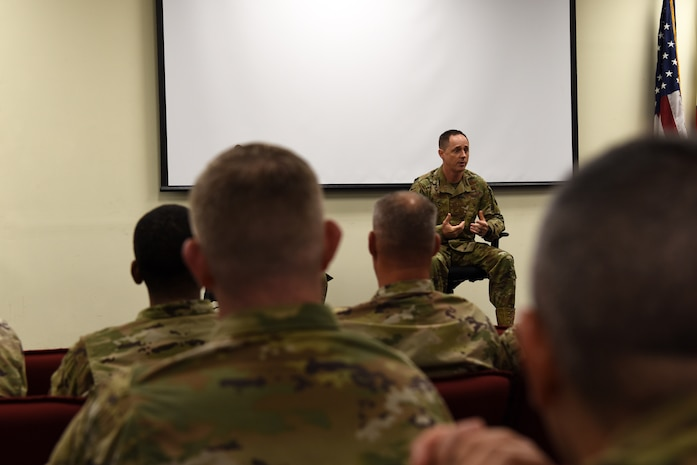 U.S. Air Force Col. Tad Clark, 8th Fighter Wing commander, speaks with the First Sergeant Symposium Class at Kunsan Air Base, Republic of Korea, Oct. 2. During his speech, Clark told the audience that he wants them to make sure to take care of and cultivate the Airmen that serve under them. (U.S. Air Force photo by Staff Sgt. Joshua Edwards)