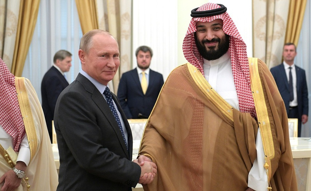 Vladimir Putin with Crown Prince and Defence Minister of Saudi Arabia Mohammad bin Salman Al Saud.