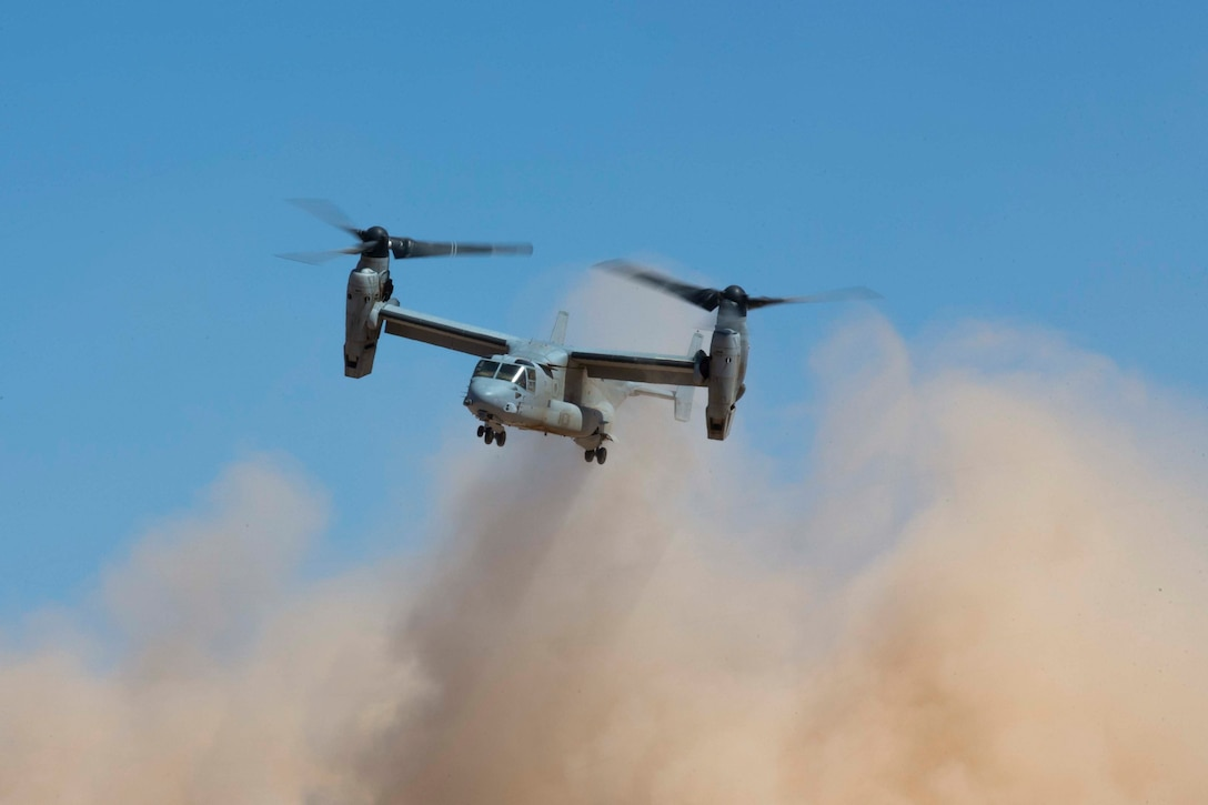 A U.S. Marine Corps MV-22B Osprey aircraft assigned to Marine Aviation Weapons and Tactics Squadron One conducts defensive maneuvers in support of a ground threat reaction exercise during Weapons and Tactics Instructor course 1-20 at Baker's Peak in Wellton, Arizona, Oct. 3, 2019. WTI is a seven-week training event hosted by MAWTS-1, which emphasizes operational integration of the six functions of Marine Corps aviation in support of a Marine Air Ground Task Force. WTI also provides standardized advanced tactical training and certification of unit instructor qualifications to support Marine aviation training and readiness, and assists in developing and employing aviation weapons and tactics.