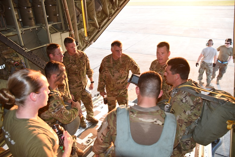 Col. Daniel Collister, 913th Airlift Group deputy commander and pilot, conducts a pre-mission brief with the loadmasters, U.S. Army jumpmasters, and U.S. Army safety crew prior to take-off during the joint forces exercise called Arctic Anvil, Oct. 1-6, at Gulfport Combat Readiness Training Center, Miss. Reserve Citizen Airmen from the 815th Airlift Squadron assigned to the 403rd Wing at Keesler Air Force Base, Miss., and the 327th AS assigned to the 913th Airlift Group at Little Rock AFB, Ark., provided airlift and airdrop capabilities to the 4th Brigade Combat Team (Airborne), 25th Infantry Division stationed at Joint Base Elmendorf-Richardson, Alaska. (U.S. Air Force photo by Jessica L. Kendziorek)