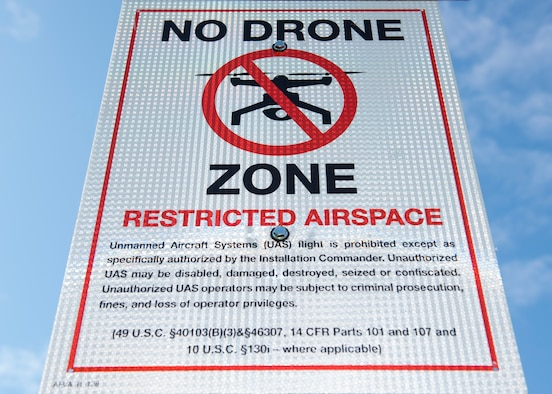 A newly posted sign at the base's main gate announces a ban on all drones, or small Unmanned Aircraft Systems (sUAS), at Fairchild Air Force Base, Washington, Oct. 1, 2019. The Air Force instituted the ban on sUAS, or drones, in response to the rising popularity of private sUAS and the possible security risk they pose, along with the potential physical danger to aircraft from hitting a drone on take-off or landing. (U.S. Air Force photo by Senior Airman Ryan Lackey)