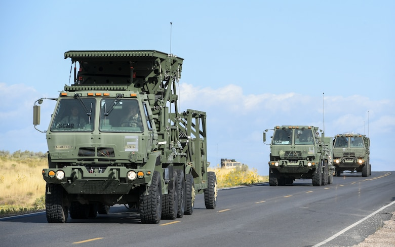Airmen from 729th Air Control Squadron participate in a convoy exercise around Hill Air Force Base, Utah, Sept. 17, 2019. The Airmen were preparing to deploy to Wendover Field, Utah, to participate in the squadron's annual Raging Bull Exercise. (U.S. Air Force photo by Cynthia Griggs)