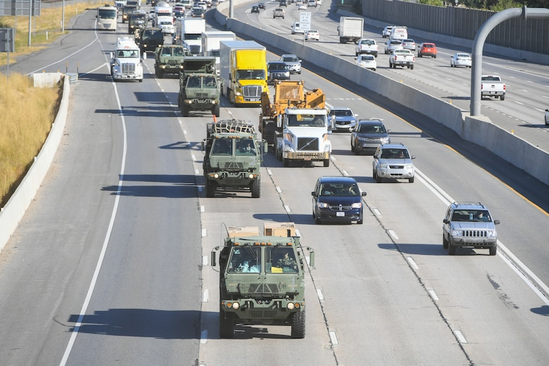 Airmen from 729th Air Control Squadron convoy from Hill Air Force Base, Utah, to Wendover Field, Utah, Sept. 18, 2019, to participate the squadron's annual Raging Bull exercise. (U.S. Air Force photo by Cynthia Griggs)