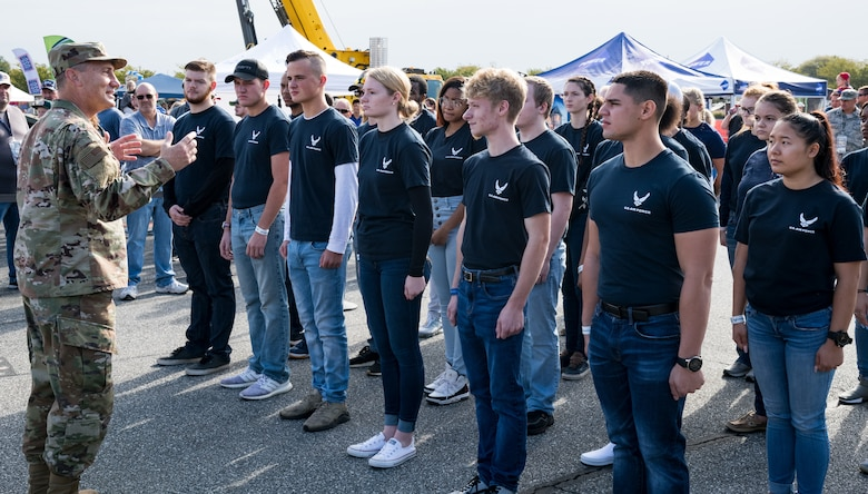 Maj. Gen. Clinton Crosier, assigned to the Deputy Chief of Staff for Strategy, Integration and Requirements, Headquarters U.S. Air Force, Arlington, Va., speaks to 26 U.S. Air Force recruits entering the Delayed Entry Program Oct. 6, 2019, at Dover International Speedway, Dover, Del. Active-duty recruits join the U.S. Air Force through the DEP: an enlistment into the inactive Reserves, with an agreement to report for active duty to attend basic military training at a specified time in the future. (U.S. Air Force photo by Roland Balik)