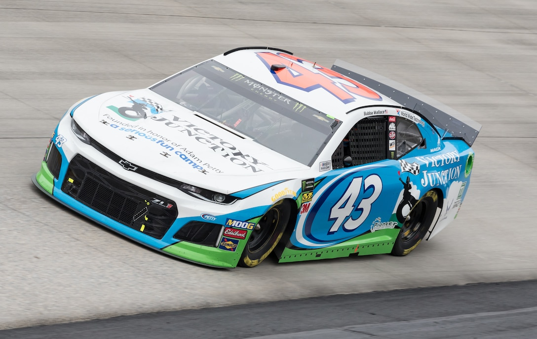 "Bubba Wallace, driver of the No. 43 Victory Junction Chevrolet, races during the ""Drydene 400"" Monster Energy NASCAR Cup Series playoff race Oct. 6, 2019 at Dover International Speedway, Dover, Del. The U.S. Air Force is one of many sponsors of the No. 43 car that finished in 20th place in the ""Drydene 400"" Monster Energy NASCAR Cup Series playoff race. (U.S. Air Force photo by Roland Balik)"