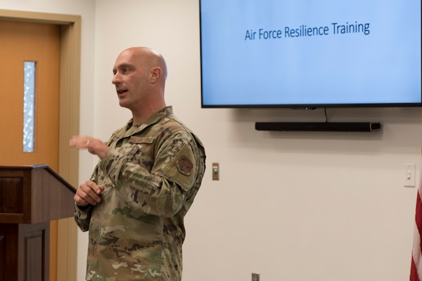 Master resilience trainer, Master Sgt. Anthony Faiono, discusses resiliency with Airmen during the 167th Airlift Wing's Full Spectrum Wellness Day, Oct. 6, 2019. The 167th Airlift Wing paused normal unit training assembly activities for the day to focus on wellness and resilience as part of an Air Force-wide initiative to address a spike in suicides across the force this year. (U.S. Air National Guard photo by Senior Master Sgt. Emily Beightol-Deyerle)