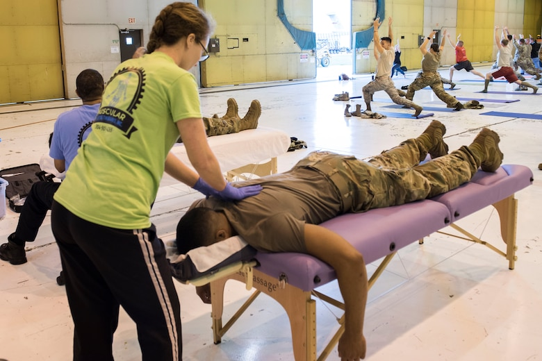 Muscular Skeletal Therapies, Inc., provide massages to Airmen at the 167th Airlift Wing, Oct. 6, 2019, as part of the wing's Full Spectrum Wellness Day. The 167th Airlift Wing paused normal unit training assembly activities for the day to focus on wellness and resilience as part of an Air Force-wide initiative to address a spike in suicides across the force this year. (U.S. Air National Guard photo by Senior Master Sgt. Emily Beightol-Deyerle)