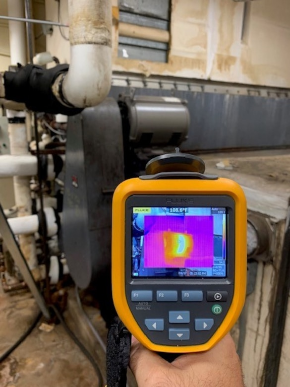 A thermal imaging camera is being used to perform energy audits.  It can identifies hot spots that are being overloaded, leaky windows or areas that are missing insulation causing hot/cold spots on the envelope of a building. (Courtesy photo)