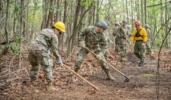 Soldiers of the West Virginia Army National Guard's 249th Army Band work to remove debris from a fire line during basic wildland fire suppression training, conducted by the West Virginia Division of Forestry in Morgantown, West Virginia, Oct. 3, 2019. The training covered basic wildland fire fighting techniques including understanding fire behavior, suppression tactics and techniques, crew organization, communications, and crew safety and awareness, with the goal of providing WNVG Soldiers the basic skills and experience to operate on a fire line side-by-side with experienced Division of Forestry personnel. (U.S. Army National Guard photo by Edwin L. Wriston)