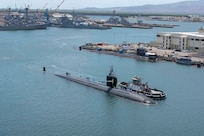 190908-N-UD469-0004 JOINT BASE PEARL HARBOR-HICKAM Sept. 8, 2019 -- The Los Angeles-class fast-attack submarine USS Olympia (SSN 717) returns home following a seven-month deployment. Olympia conducted an around-the-world deployment in support of maritime security operations with allies and partners to ensure high-end war fighting capabilities in this era of great power competition. (U.S. Navy photo by Mass Communication Specialist 1st Class Amanda Gray/Released)