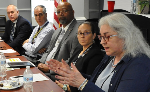 IMAGE: DAHLGREN, Va. (Oct. 4, 2019) – Lesley Painchaud – Naval Surface Warfare Center Dahlgren Division (NSWCDD) scientist – recounts the challenges she faced in her career as a Navy officer and as a veteran transitioning to the civilian workforce while offering advice to her fellow veterans employed at NSWCDD. Painchaud was among a panel of five NSWCDD civilian leaders and technical experts who shared career tips and strategies at the command's Veterans Integration event. The panel discussed how veterans can leverage the expertise they developed in the military as well as resources such as mentoring and increased networks to build successful civilian careers.