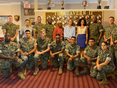 Marine Corps Logistics Base Albany held its annual Hispanic Heritage Month observance luncheon at the Clubs of Dubber's Oak, Oct. 3. Barbara Rivera Holmes, President and CEO, Albany Area Chamber of Commerce, served as the guest speaker. (U.S. Marine Corps photo by Pamela Jackson)