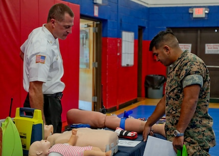 Marine Corps Logistics Base Albany held its annual Emergency Preparedness Fair aboard the installation in the Thomason Gymnasium, Sept. 17. The fair provided information on community disaster and emergency planning, to include considerations during recovery operations. (U.S. Marine Corps photo by Re-Essa Buckels)