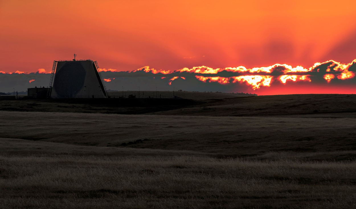 The sun sets behind the Upgraded Early Warning Radar at Beale Air Force Base, Calif. Program Executive Office Digital is upgrading the five radars that serve as the United States' first warning of sudden missile attack. (Courtesy photo by Eddie W. Clark, InDyne)