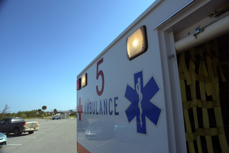 The 325th Operational Medical Readiness Squadron Ambulance Services Department's Med 5 response vehicle is pictured Oct. 4, 2019, at Tyndall Air Force Base, Florida. Medical treatment vehicles are used to transport Airmen to and from medical response scenes when emergency patient care is needed for the Tyndall community. (U.S. Air Force photo by Staff Sgt. Magen M. Reeves)