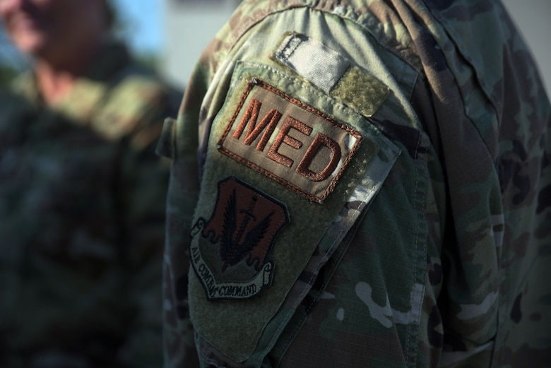 An Airman's uniform from the 325th Operational Medical Readiness Squadron Ambulance Services Department is pictured Oct. 4, 2019, at Tyndall Air Force Base, Florida. Airmen are trained in the response, transportation, and providing basic emergency medical service when patient care for active duty, their dependents, and retirees is needed. (U.S. Air Force photo by Staff Sgt. Magen M. Reeves)