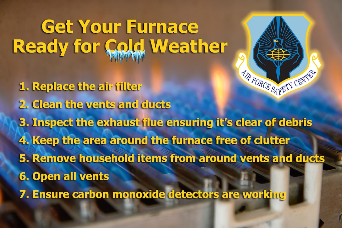 Furnace safety tips in preparation for cold weather. Image of gas burning in a heating appliance. A stainless steel burner heats a copper heat exchanger.