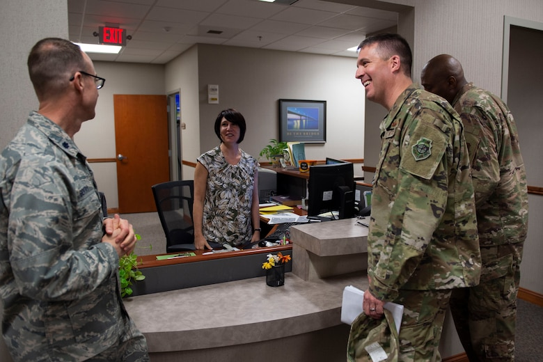 Col. Daniel Walls, 23d Wing commander, visits the Judge Advocate office Oct. 7, 2019, at Moody Air Force Base, Ga. Walls toured different components of Moody's Wing Staff Agency to acknowledge their contributions to the mission. (U.S. Air Force photo by Airman Azaria E. Foster)