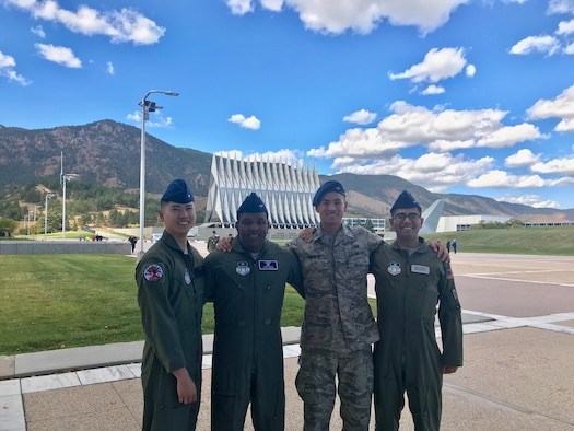 Members of the cadet Air Force Academy Energy Action Team pose at the U.S. Air Force Academy, Colo., October 04, 2019.