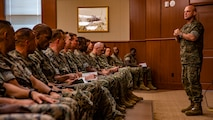 U.S. Marine Corps Lt. Gen. David G. Bellon, right, commander of Marine Forces Reserve and Marine Forces North, speaks to the staff noncommissioned officers of MARFORRES during a meeting at Marine Corps Support Facility New Orleans, Oct. 7, 2019. During the meeting, Bellon spoke about the importance of enforcing Marine Corps standards, challenging small unit leaders and being ready to fight near peer threats as an expeditionary force. (U.S. Marine Corps photo by Lance Cpl. Jose Gonzalez)