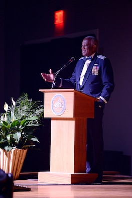 """Retired Gen. Lloyd """"Fig"""" Newton, a prior Thunderbird, former Air Education and Training Command commander and Vietnam War veteran speaks during the 14th Flying Training Wing's Air Force Birthday Ball Sept. 28, 2019, in Columbus, Miss. The U.S. Air Force Band of the West also were guests for the event, playing music and bringing the event together to sing the Air Force song at the end of the night. (U.S. Air Force photo by Senior Airman Keith Holcomb)"""