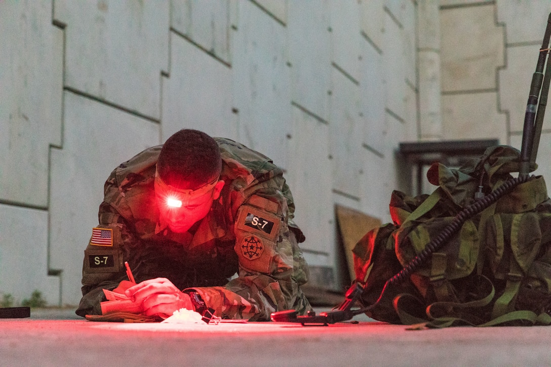 A soldier lies on the ground and uses a headlamp to help write on a paper.