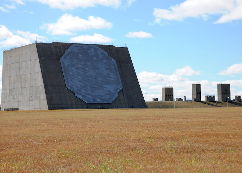 A full view of the Perimeter Acquisition Radar building located at Cavalier Air Force Station in North Dakota. The building houses the Perimeter Acquisition Radar Attack Characterization System, a key piece of the national military command system.